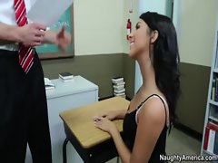 Chesty schoolgirl stays after class and screws professor for a passing grade