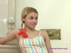 Slutty russian blond in pigtails