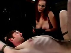 Big titted Berlin pegging dude on table and squeezing his phallus