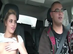 Sister Shana Lane fingers her snatch in a car