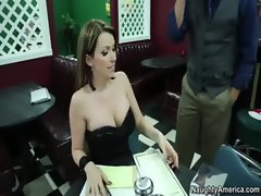 Courtney Cummz gets pierced clit fondled and screws big sausage in restaurant