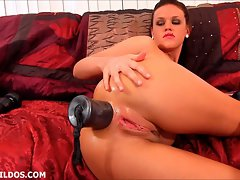 Cutie destroys her dirty ass with a silver brutal rubber toy