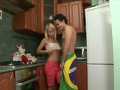 Sizzling teen Blond Alisa Fuck in the Kitchen