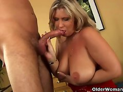 Buxom aged mamma gives head and gets stuffed