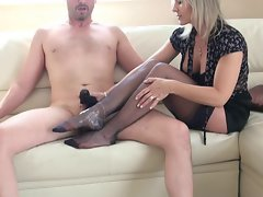 Light-haired Mommy stocking and panty footjob