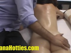 Hooters and bum massage at the casting