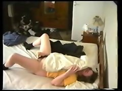 High quality hidden cam video of my slutty mom masturbating on bed