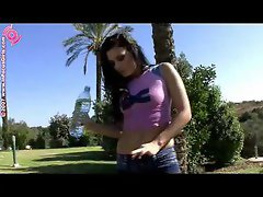 Moist t-shirt girl outdoors