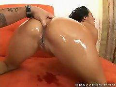 Greased up stunning anal banged brutal