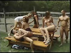 Filthy group sex shot on a village