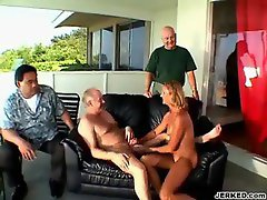 Dirty wife fellatio an elder man's dick while husband watches