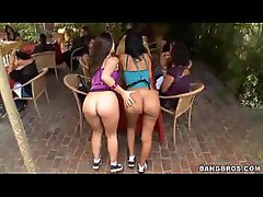 Two big butt waitresses showing off their nude booties