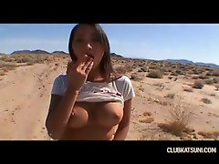 Hussy driven out to the desert where she gives head