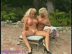 Two big titted blondies hooking up by the pool