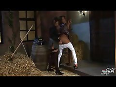 Filthy satin lesbos kissing and fingering in the barn