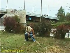 Blondie lassie receives a piss right on the ground