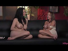 Two chesty slutty chicks doing a nude interview