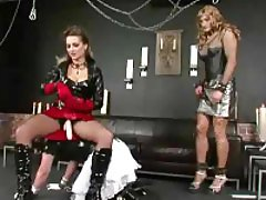 Two sissy fellows are having fun with mistress