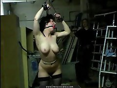 Tied up lass is whipped and it hurts