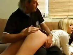 Schoolgirl has her butt rubbed and spanked slightly