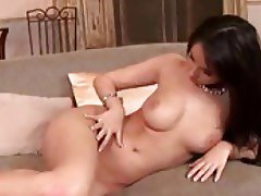 Bony girl is bare and rubbing her body