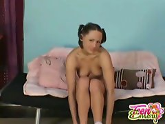 Sizzling teen in braces accepts off her panties and plays