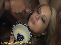 Lady in a collar drinking lewd cum