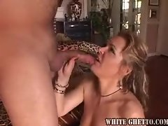 Filthy bitch in black nylons loves a strong throbbing cock
