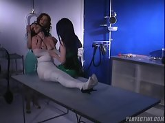 Filthy nurses wrap their submissive like a mummy