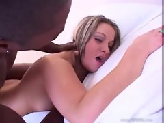 White chick on white sheets accepts black phallus