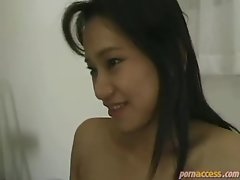 Satin panties on stunning Asian cocksucker and butthole whore