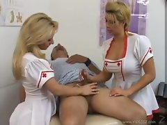 Lewd and buxom nurses give a handjob