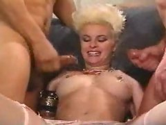 Filthy cumshots drench a slutty whore