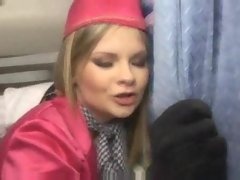Anally banging the whorish stewardess on a plane