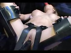 Rubber toy machine grinding this attractive body goddess