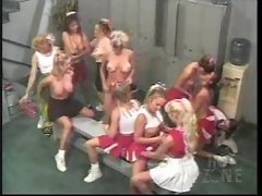 A lot of cheerleader slutty chicks playing in locker room