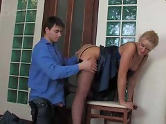 Slutty russian aged caresses and screws two lads