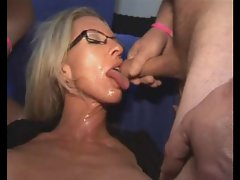 Lads line up to jizz on the blondie vixen