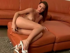 Bitch Caresses Her Toy After Banging Her Cunt