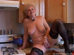 Really sexual grandma has a soaking dripping cunt