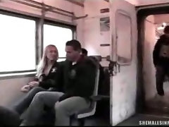 Transvestite Jizzed On in a Train!