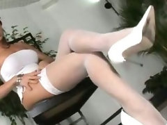Transsexual Carla Novaes banged in white stockings