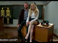 Buxom blond transsexual rectal shags her teacher in bdsm activity