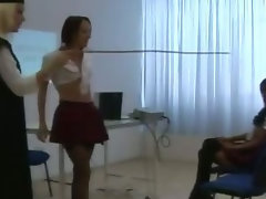 Watch raunchy cfnm femdom vixens strip and humiliate 19 years old victim