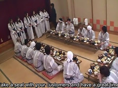 Subtitled Seductive japanese housewives group foreplay dining party