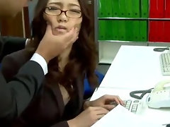 Office lass Ibuki has her shaven cunt teased at work