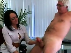 Cfnm fetish office wench gives handy