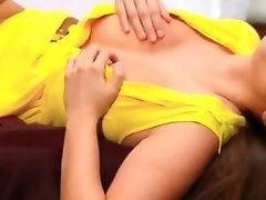 Chesty Conny Carter caresses and plowed in her yellow dress