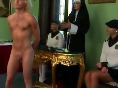 Femdom schoolgirls and their teacher spank loser