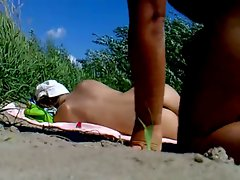 Rus Public BEACH FLASH CUM Watching Young lady 85 - NV